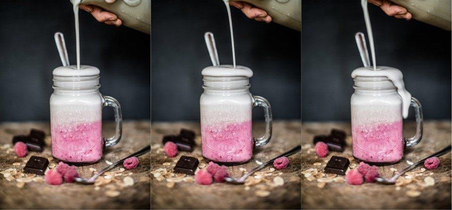Raspberry peanut butter vanilla shake