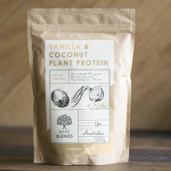 Vanilla coconut plant protein